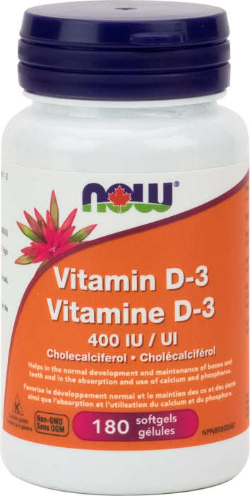 Now Vitamin D-3 400 iu Sgels 180 Capsules