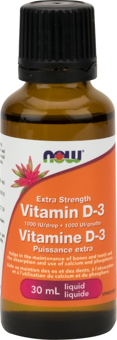 NOW Vitamin D3 Liquid Extra Strength 1000 iu/drop 30ml