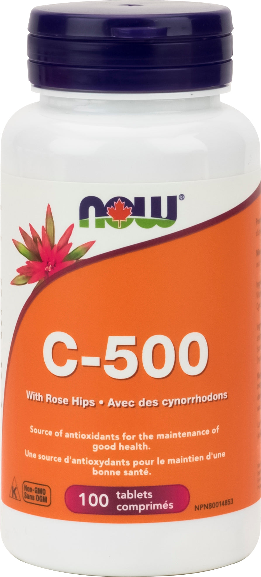 NOW Vitamin C -500 With  40mg Rose Hips 100 Tablets