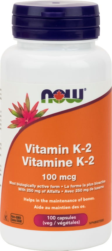 NOW Vitamin K2 100mcg 100 Vegetarian Capsules