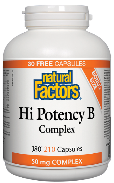Natural Factors High Potency B Complex 50mg 210 Capsules Bonus
