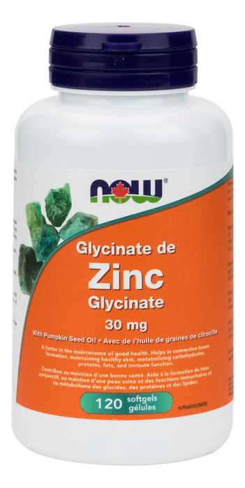 NOW Zinc Glycinate 30mg 120 Gelatin Softgels