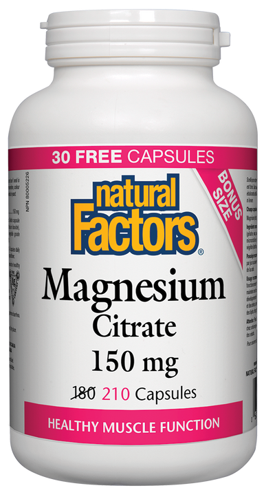 Natural Factors Magnesium Citrate 150mg 210 Capsules Bonus