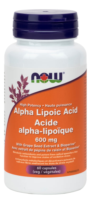 NOW Alphalipoic Acid 600mg 60 Vegetarian Capsules