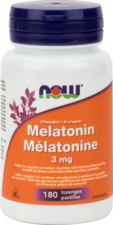 NOW Melatonin 3mg + B-6 Peppermint Chewable 180 Chewable Tablets
