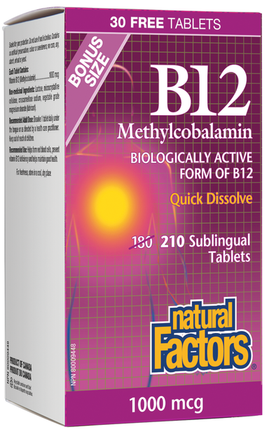 Natural Factors B12 Methylcobalamin 1000mcg 210 Sublingual Tablets Bonus Quick Disolve