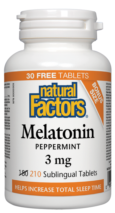 Natural Factors Melatonin 3mg Peppermint 210 Sublingual Tablets Bonus
