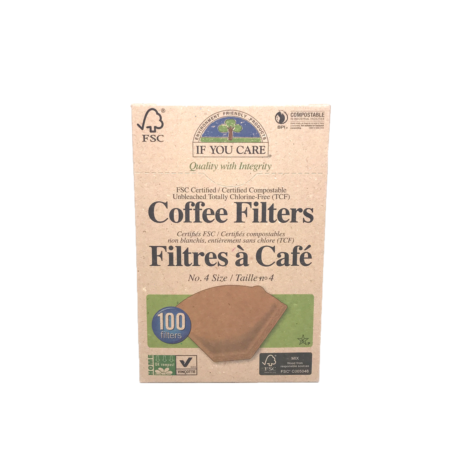 If You Care Unbleached Coffee Filters #4 100Pk
