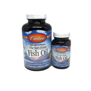 Carlson Very Finest Fish Oil 1000mg Orange Flavour BONUS 150 Softgels