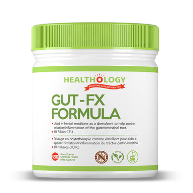Healthology Gut- FX Formula 180g Powder  Buy Canada, Buy Local, Buy Independent.  Description  Gut health is the foundation of our overall health. Our digestive system allows us to break down and absorb nutrients (and energy) from food and eliminate toxins from the body. It is also the control centre of our immune system, and produces many of our hormones including serotonin and dopamine, which impact our mood, sleep, appetite and the nervous system.