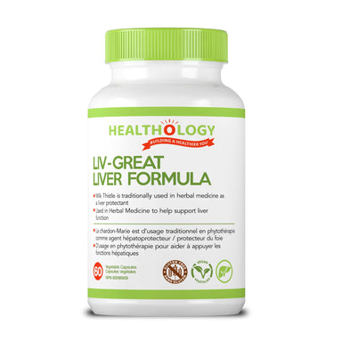 Healthology Liv-Great Liver Formula 60 Vegetarian Capsules  Buy Canada, Buy Local, Buy Independent.  Description  The liver is our most important detoxifying organ. It is masterful at identifying toxins and neutralizing them so that they can be safely excreted from the body. Toxins include chemicals, food additives, alcohol, caffeine and medications. The liver is also responsible for detoxing our hormones and end-products of metabolism.