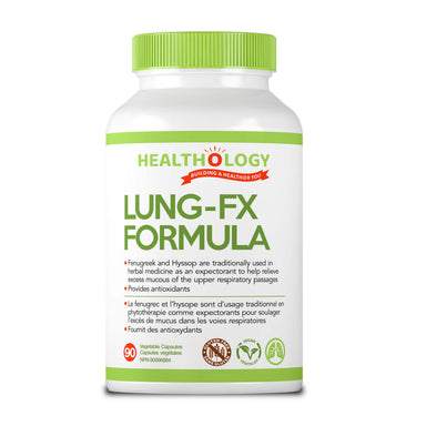 Healthology Lung-FX Formula 90 Vegetarian Capsules  Buy Canada, Buy Local, Buy Independent.  Description  Breathing easily is something that most people take for granted. We usually inhale and exhale without even thinking about it, but the moment you can't get enough air, like during an asthma attack, it becomes very clear just how importing breathing is. So, why do we need to breathe?