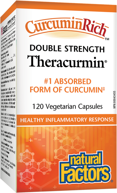 Natural Factors CurcurminRich Double Strength Theracurmin 120 Vegetarian Capsules