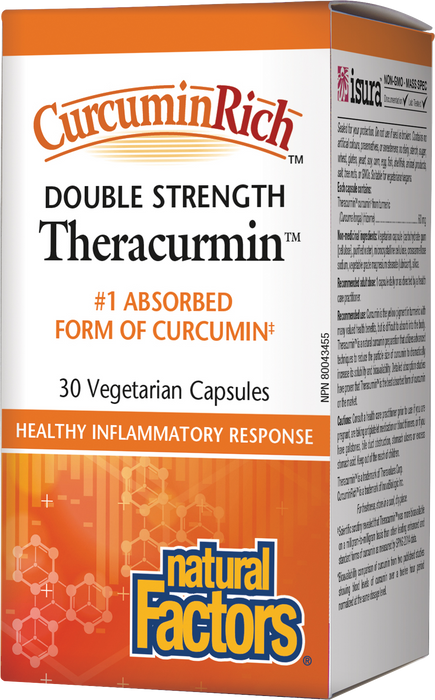 Natural Factors CurcurminRich Double Strength Theracurmin 60mg 30 Vegetarian Capsules