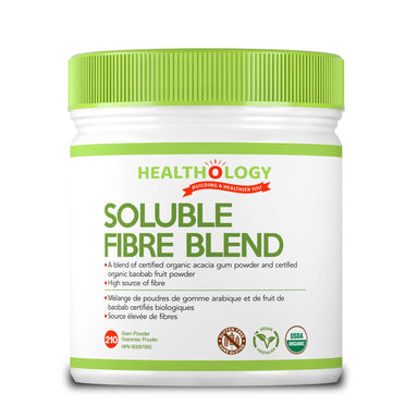 Healthology Soluble Fibre Blend 210g Powder  Buy Canada, Buy Local, Buy Independent.  Description  Fibre is the part of plant material that our bodies can't break down and use as a fuel source, but it plays a very important role in our digestive pathway and is crucial to our overall health. There are two types of fibre: soluble and insoluble.