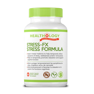 Buy Canada, Buy Local, Buy Independent.  Healthology Stress-FX Stress Formula 60 Vegetarian Capsules  STRESS-FX is formulated to lower cortisol levels and promote a state of calmness and relaxation.  Description  When we feel stress, the body responds as though we are being chased by a lion. It jumps into a 'fight-or-flight' state and releases a cocktail of hormones from the adrenal glands, including cortisol and adrenaline.