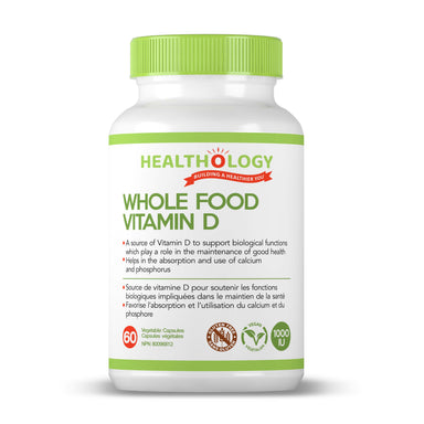 Healthology Whole Food Vitamin D3 1000IU 60 Vegetarian Capsules  Buy Canada, Buy Local, Buy Independent.  WHOLE FOOD VITAMIN D provides the recommended daily dose of vitamin D from a Non-GMO, vegan source.  Description  WHOLE FOOD VITAMIN D is made from UV treatment of mushrooms7, creating an all-natural, vegan, real-food source of Vitamin D.
