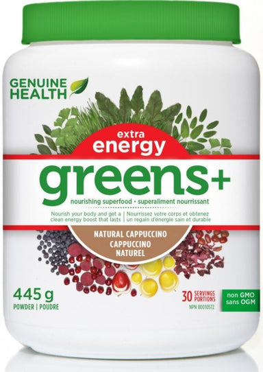 Genuine Health Greens+ Extra Energy Natural Cappuccino 445g