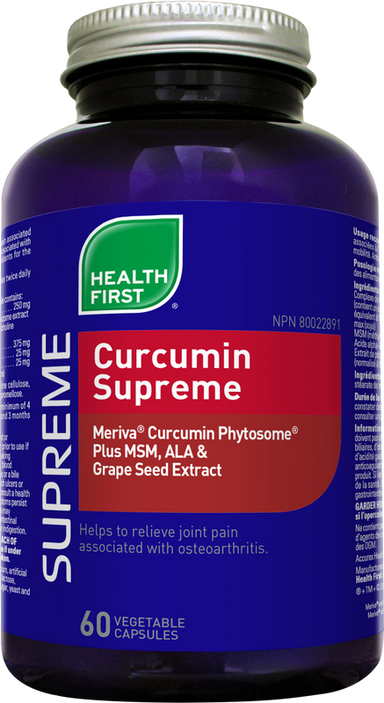 Buy Canada, Buy Local, Buy Independent.  Health First's Curcumin Supreme contains clinically proven Meriva® Curcumin Phytosome® Plus MSM, ALA & Grape Seed Extract.