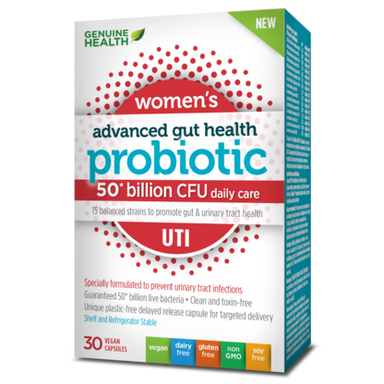 Genuine Health Advanced Gut Health Women's UTI Probiotics 50 Billion 30 Vegan Capsules