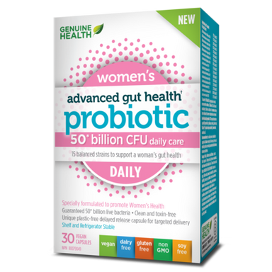 Genuine Health Advanced Gut Health Women's Daily Probiotics 50 Billion 30 Vegan Capsules