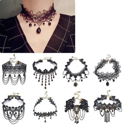 Choker - Retro Victorian Gothic Crystal Black Lace Choker