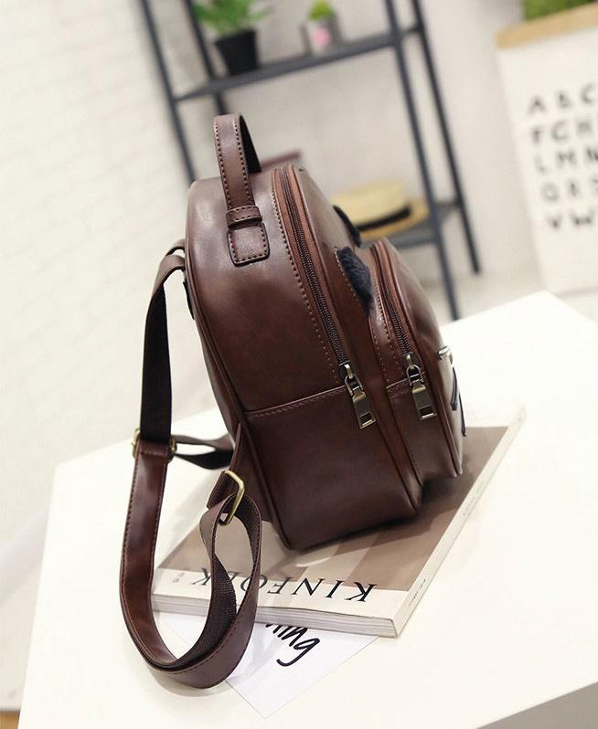 Leather Cat Bag - Vintage Leather Fashion Cat Ear Backpack