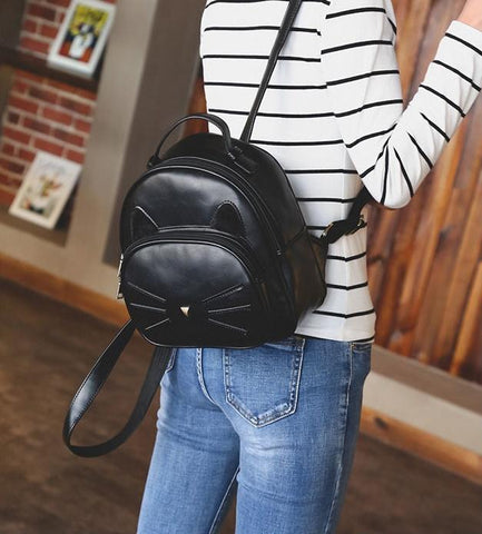 Image of Leather Cat Bag - Vintage Leather Fashion Cat Ear Backpack
