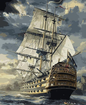 Magnificent Sailing Ship - DIY Canvas Painting + Paint Kit - Magnificent Sailing Ship - DIY Canvas Painting + Paint Kit