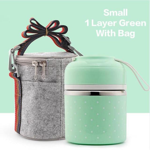 Image of Portable Cute Mini Japanese Leak-Proof Stainless Steel Thermal Lunch Box - Portable Cute Mini Leak-Proof Stainless Steel Thermal Lunch Box