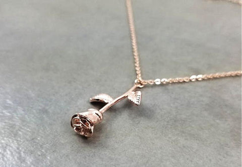 Rose Flower Pendant Necklace - Rose Flower Pendant Necklace