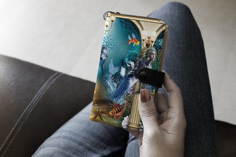 Wallet Case - Riveting Deep Sea Dolphin Mermaid Wallet Phone Case
