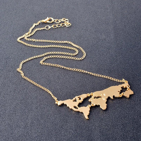 Image of World Map Pendant Necklace - World Map Pendant Necklace
