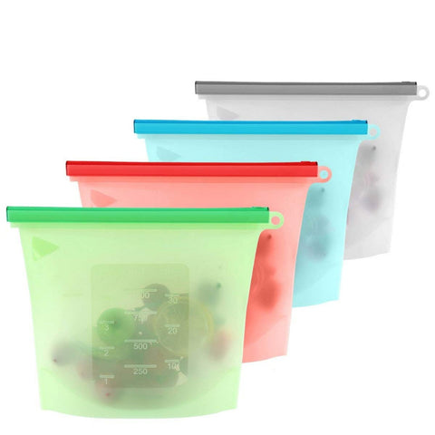 4 Reusable Silicone Food Bags
