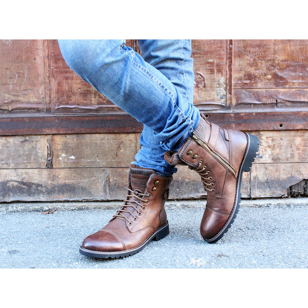 Brown Combat Motorcycle Zipper Boots for Men Brady Photography