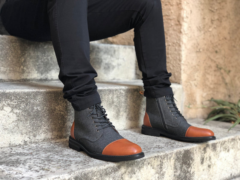 Men's fashion boots woolen vegan leather with black jeans
