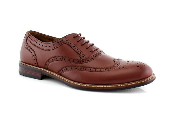 Brown Classic Wingtip Fashion Dress Shoes Abraham Side