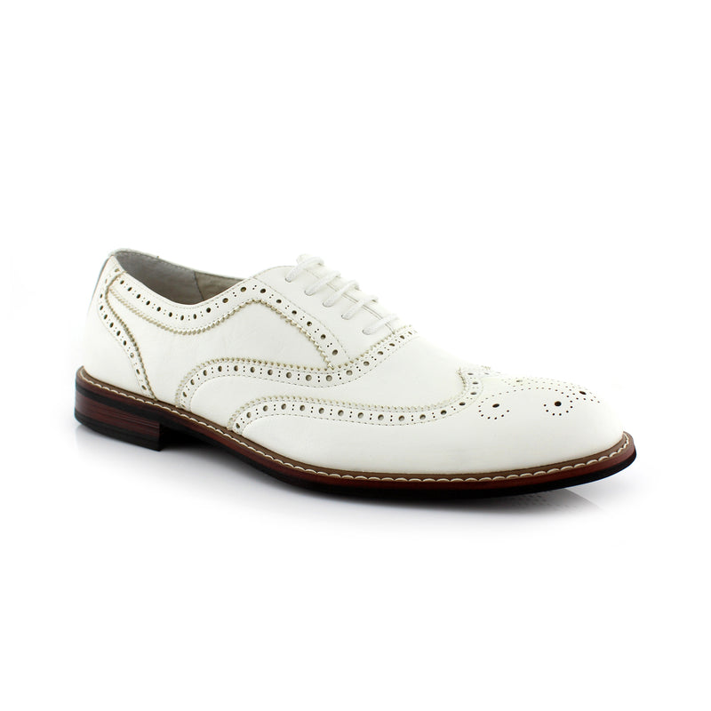 White Classic Wingtip Fashion Dress Shoes Abraham Side