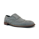 Gray Classic Wingtip Fashion Dress Shoes Abraham Side