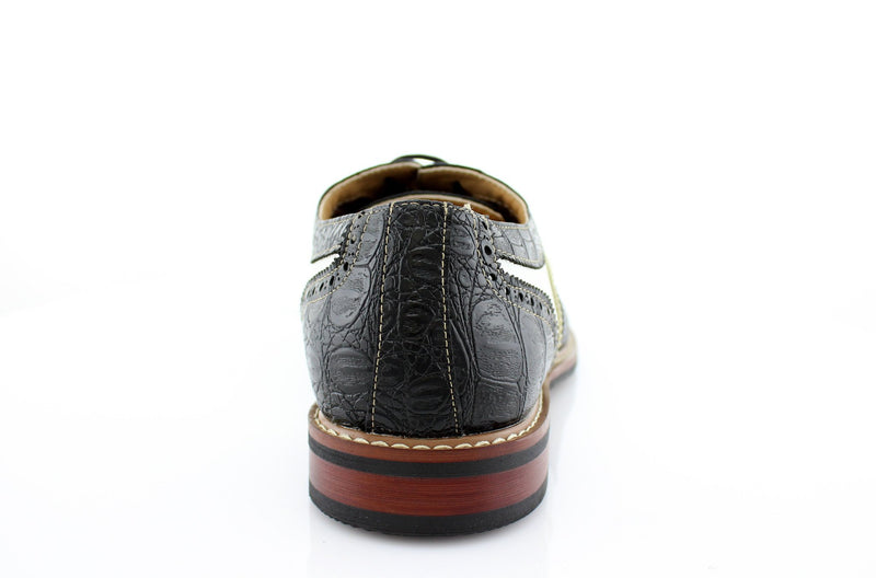 Black Crocodile Grain Casual Shoes Men Back View