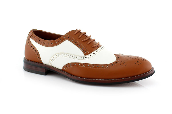 Vintage Wedding Groom Best Men Brown/White Shoes Arthur Side View