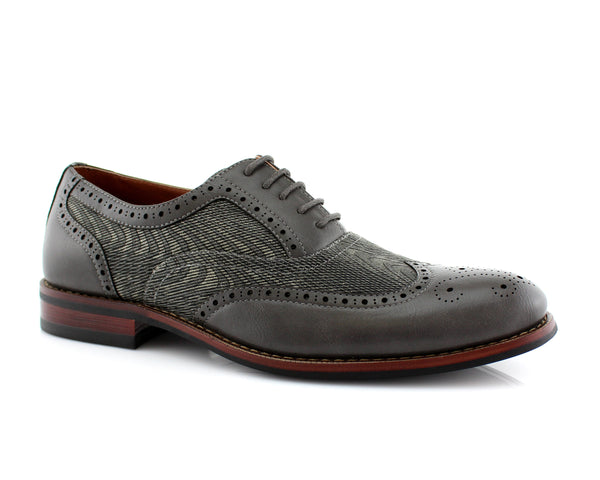 Black Wave Print Wingtip Men's Oxford Alan Side View
