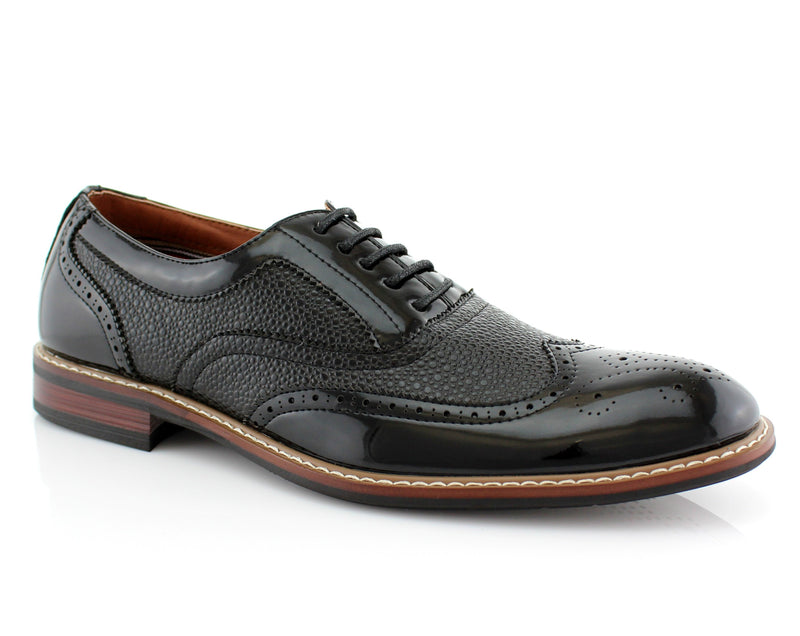 Black Wingtip Full Brogue Oxford | Adam |  Ferro Aldo Formal Shoes | CONAL FOOTWEAR