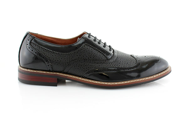 Black Wingtip Full Brogue Oxford Adam Side