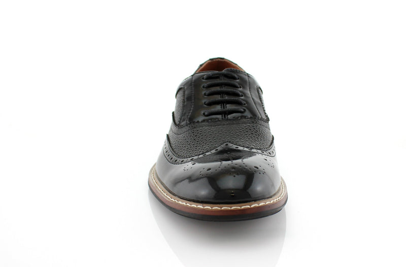 Black Wingtip Full Brogue Oxford Adam Front