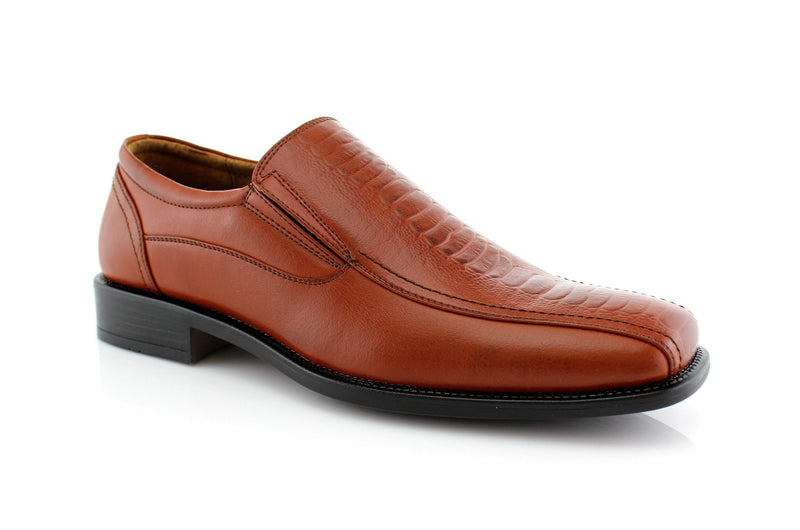 What 60's Men Wear Shoes? Brown Slip On Men's Business Shoes Side