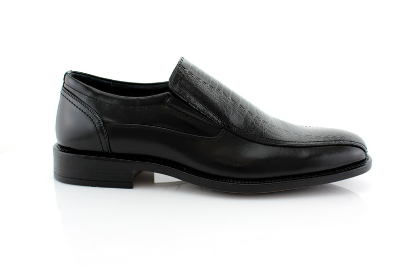 What 60's Men Wear Shoes? Black Slip On Men's Business Shoes Side