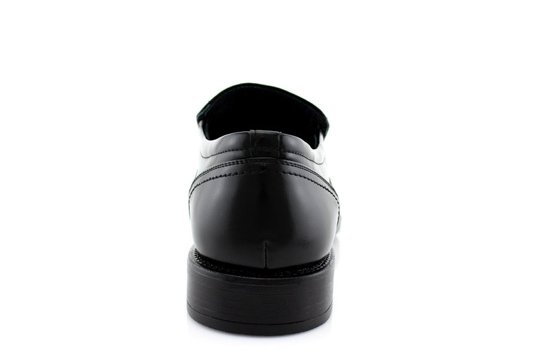 What 60's Men Wear Shoes? Black Slip On Men's Business Shoes Back