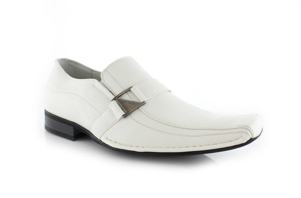 White Classic Loafer Shoes Felipe Side View