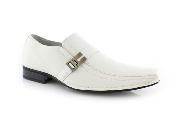 White Classic Square Toe Man Formal Business Work Shoes Jose Side
